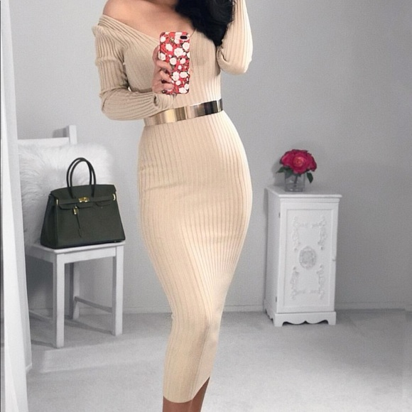ccaf4ee57cc hotmiamistyles Dresses   Skirts - Nude Ribbed Knit Long Sleeve Dress
